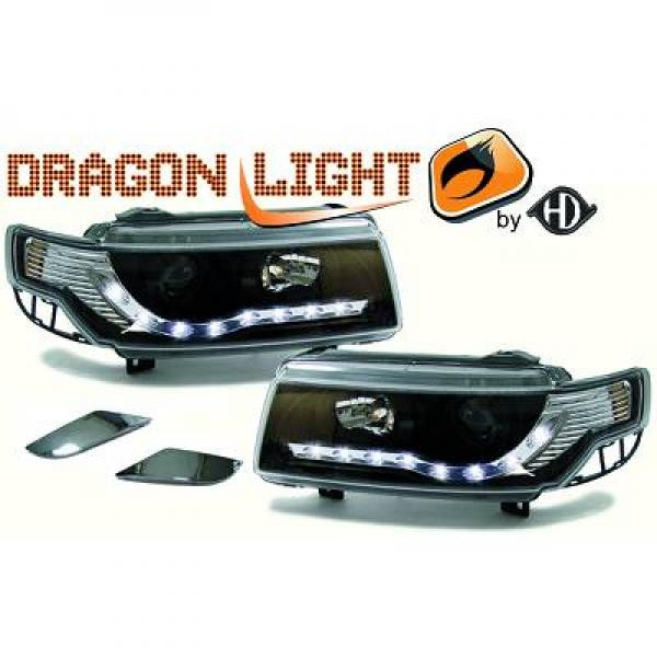 Phares à LED diurnes DragonLights noir PASSAT